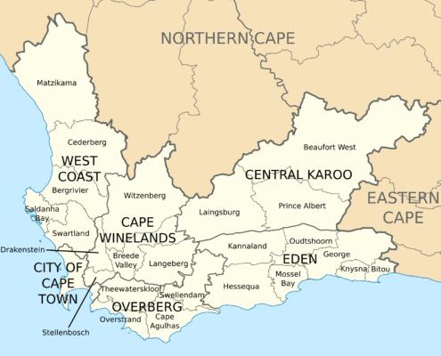 Garden Route and Klein Karoo Region info Map
