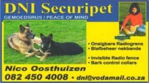 DNI Securipet invisible radio fencing for dogs .Onsigbare Radiogrens veiligheids gordels vir honde