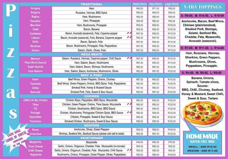 Pizza World Stilbaai menu