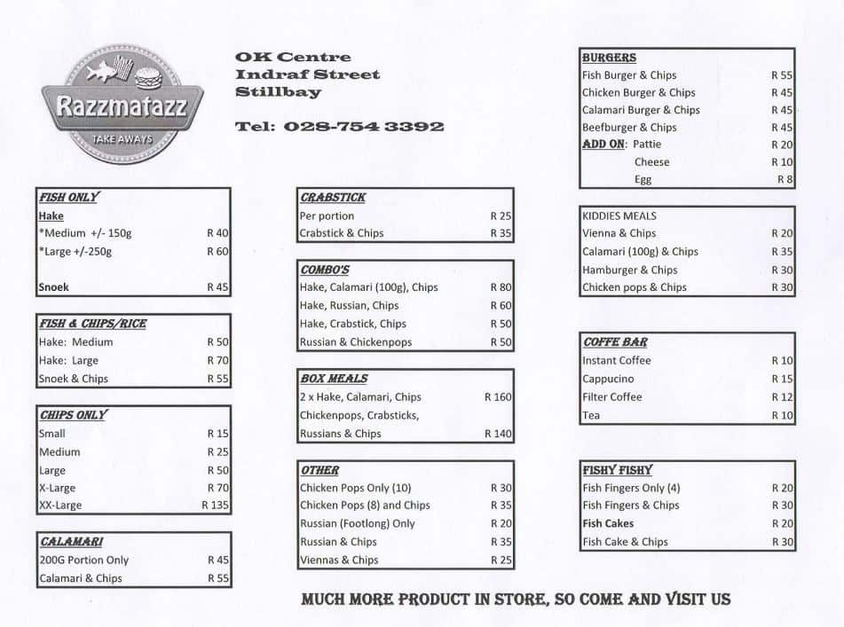 Razzmatazz Take aways Menu