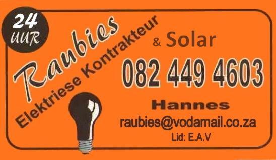 Raubies Solar Power Systems Garden Route