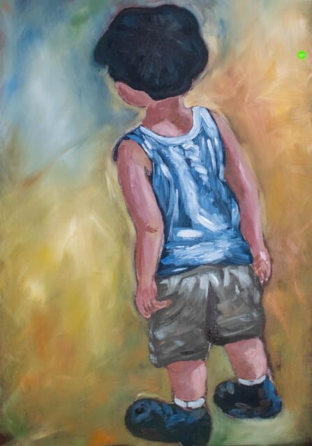 Beach House Upholstery Painting of a young boy